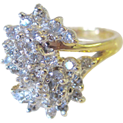 Alluring 14K Two Tone .50tcw Diamond Vintage Cocktail Ring