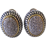 SALE Beautiful Vintage Sterling Silver Oval Pave CZ Omega Backs Earrings