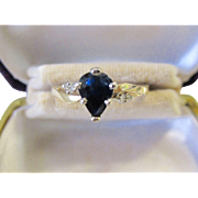 Delightful Vintage 14K Two Tone Sapphire .81ct. and Diamond Ring