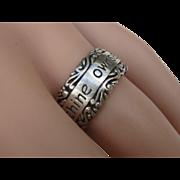 Vintage Sterling Silver Engraved Scripture Ring