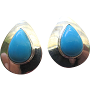 Estate Natural Turquoise Sterling Silver Earrings