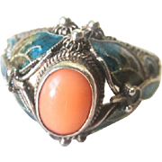 Vintage Sterling Silver Filigree Enamel Coral Chinese Ring