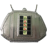 SALE Beautiful Necessaire Dance Compact With Enamel Pink Flowers and Green Leaves Cartouche