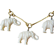 SALE Vintage Gold Finish Link Necklace With Dangling Celluloid Elephants