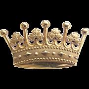 Vintage Gold-Filled Royal Crown Brooch By Lester