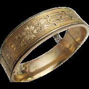 SALE Victorian 10K Gold Filled Foliage Bangle Bracelet