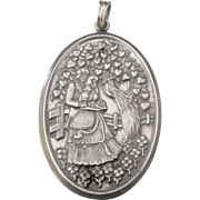 Vintage Hallmarked European Sterling Silver Romantic Oval Pendant