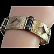 SALE Stunning Victorian Gold-Filled Black Onyx Wide Link Bracelet