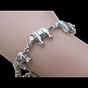 SALE Vintage Sterling Silver Trailing Elephant Link Bracelet