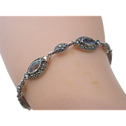 Lovely Sterling Silver Faux Stone Link Bracelet With Marquisates