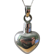 Unique Vintage Sterling Silver Puffed Heart Perfume Pendant