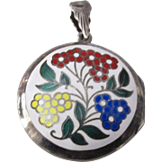 Antique Round Sterling Silver Floral Enamel Two-Picture Locket