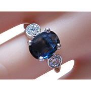Stunning Estate Platinum Oval 1.91ct. Natural Sapphire And .42ct. Diamond Ring