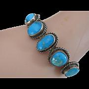 Vintage Native American Navajo Sterling Silver Turquoise Bangle Bracelet