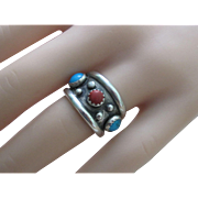 Vintage Native American Sterling Silver Turquoise Red Coral Ring