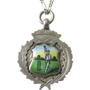 Antique European Sterling Silver Fob Award Medallion With Enamel Cricket Player