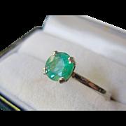 SALE Estate Platinum,14K White Gold, Natural Green Emerald Expandable Ring