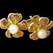 Vintage 14K Gold Filled Cultured Pearl Four Leaf Clover Earrings