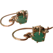 Victorian 9ct Rose Gold Dangle Earrings With .40tcw Emeralds