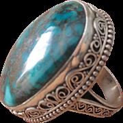 Estate HUGE Sterling Silver Turquoise Bali Ring