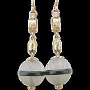 Spectacular European 18K Y.G. Diamond/Carved Quartz/Jade Dangling Earrings