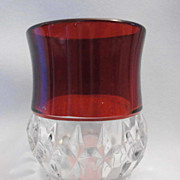 EAPG Greensburg / McKee Ruby Stained CORONA / SUNK HONEYCOMB Toothpick Holder
