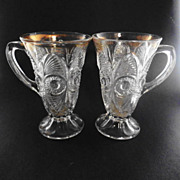 (2) EAPG Bulls Eye and Fan Lemonade Mug Cup US Glass #15090