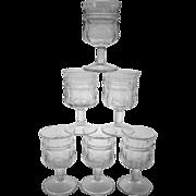 EAPG Jenkins Kokomo Paneled Sunflower Goblets  ~ Lot of 6