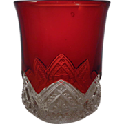 EAPG Ruby Stained HEART BAND Tumbler McKee & Bros.