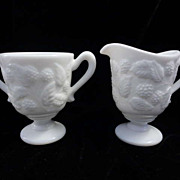 Fostoria Sugar Creamer White Milk Glass Berry