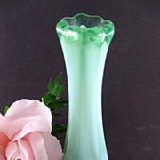 "Fostoria Green Opalescent Heirloom 5 3/8"" Bud Vase"