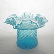 Fenton Swirl Optic Opalescent Stiegel Blue Hat c. 1939