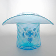 Fenton Top Hat Celeste Blue Iridescent Diamond Optic Stretch Glass 90th Anniversary