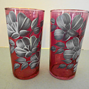 Federal Iridescent Pink Rose Cranberry Stain 12 oz. Tumblers hand painted Flowers ~ Lot of 2