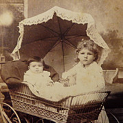 SOLD Cabinet Card - Wicker Baby carriage pram w/ Canopy photo ~Child watches over Baby~
