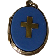 SALE A French Brass and Opaline Glass Locket