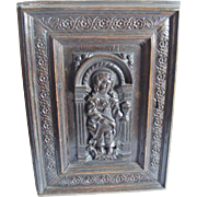 A Pair of French 18th Century Carved Door Panels Woman with Flaming Chalice and Woman ...