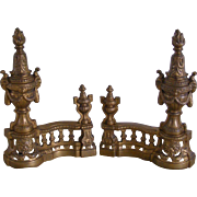 A Pair of French 19th Century Bronze Chenets