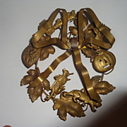 Very small size brass holiday wreath