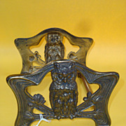 Expanding Owl Decor Book Rack, Brass and Brass Plated