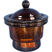 Large Amber Glass Storage Jar