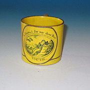 REDUCED Early 19th Century Miniature Canary Lustre Childs Mug