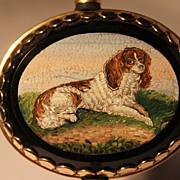14k Gold Micro Mosaic Brooch of a King Charles Spaniel