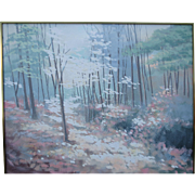 Very Large Pastel Painting of a Wooded Scene by Lee Reynolds