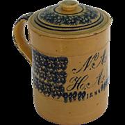Very Large Yellowware Tankard Dated 1894