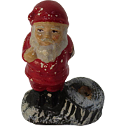 White Clay Santa Candlestick Holder