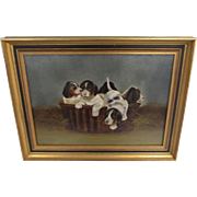 Very Fine Oil Painting Depicting 5 Young Puppies in a Basket