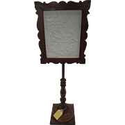 Lithophane Candle Shield Encased in a Mahogany Frame