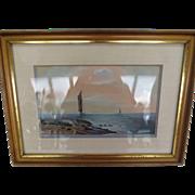 Very Fine Watercolor of a Coastal Scene By C.B. White 1909