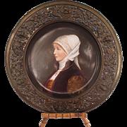 Large Hand Painted Porcelain Portrait Plaque of a Woman